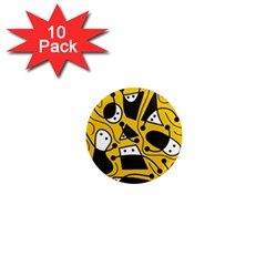 Playful abstract art - Yellow 1  Mini Magnet (10 pack)