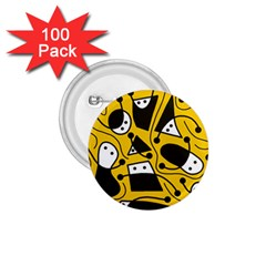 Playful abstract art - Yellow 1.75  Buttons (100 pack)