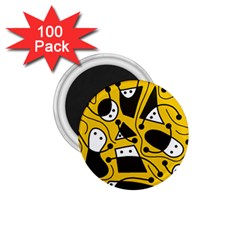Playful abstract art - Yellow 1.75  Magnets (100 pack)