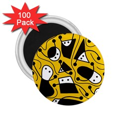 Playful abstract art - Yellow 2.25  Magnets (100 pack)