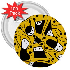 Playful abstract art - Yellow 3  Buttons (100 pack)