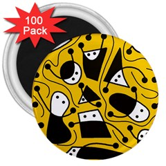 Playful abstract art - Yellow 3  Magnets (100 pack)