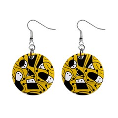 Playful abstract art - Yellow Mini Button Earrings