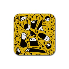 Playful abstract art - Yellow Rubber Square Coaster (4 pack)