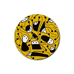 Playful abstract art - Yellow Rubber Round Coaster (4 pack)
