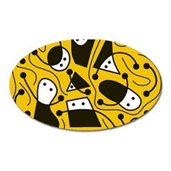 Playful abstract art - Yellow Oval Magnet