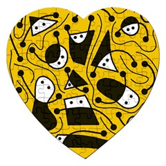 Playful abstract art - Yellow Jigsaw Puzzle (Heart)