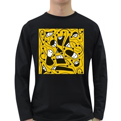 Playful abstract art - Yellow Long Sleeve Dark T-Shirts