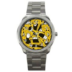 Playful abstract art - Yellow Sport Metal Watch