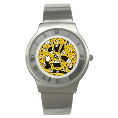 Playful abstract art - Yellow Stainless Steel Watch