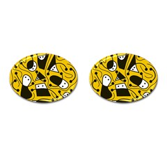 Playful abstract art - Yellow Cufflinks (Oval)