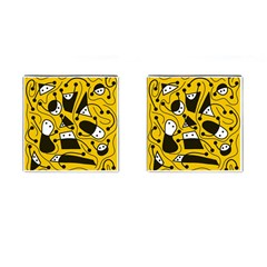 Playful abstract art - Yellow Cufflinks (Square)