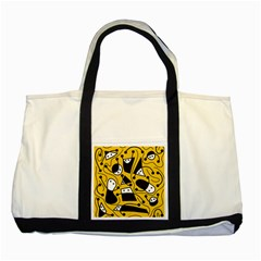 Playful abstract art - Yellow Two Tone Tote Bag