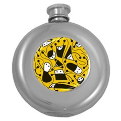 Playful abstract art - Yellow Round Hip Flask (5 oz)