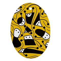 Playful abstract art - Yellow Oval Ornament (Two Sides)