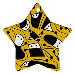 Playful abstract art - Yellow Star Ornament (Two Sides)