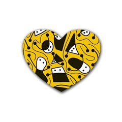 Playful abstract art - Yellow Rubber Coaster (Heart)