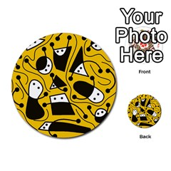 Playful abstract art - Yellow Multi-purpose Cards (Round)