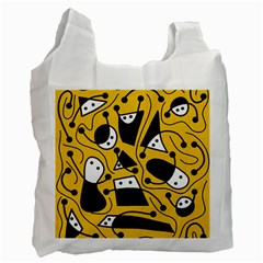 Playful abstract art - Yellow Recycle Bag (One Side)