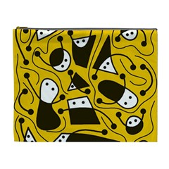 Playful abstract art - Yellow Cosmetic Bag (XL)