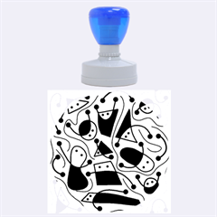 Playful abstract art - Yellow Rubber Round Stamps (Large)