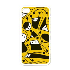 Playful abstract art - Yellow Apple iPhone 4 Case (White)