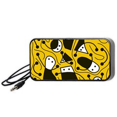 Playful abstract art - Yellow Portable Speaker (Black)