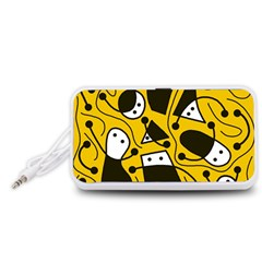 Playful abstract art - Yellow Portable Speaker (White)