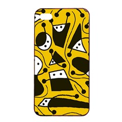 Playful abstract art - Yellow Apple iPhone 4/4s Seamless Case (Black)