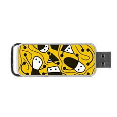 Playful abstract art - Yellow Portable USB Flash (Two Sides)