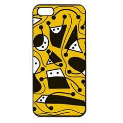 Playful abstract art - Yellow Apple iPhone 5 Seamless Case (Black)