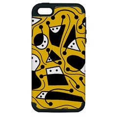Playful abstract art - Yellow Apple iPhone 5 Hardshell Case (PC+Silicone)