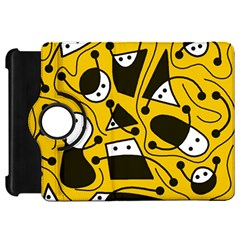 Playful abstract art - Yellow Kindle Fire HD Flip 360 Case
