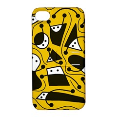 Playful abstract art - Yellow Apple iPhone 4/4S Hardshell Case with Stand