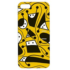 Playful abstract art - Yellow Apple iPhone 5 Hardshell Case with Stand