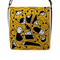 Playful Abstract Art   Yellow Flap Messenger Bag (l)