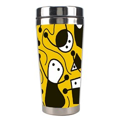 Playful abstract art - Yellow Stainless Steel Travel Tumblers