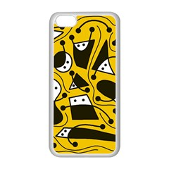Playful abstract art - Yellow Apple iPhone 5C Seamless Case (White)