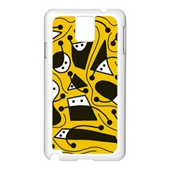 Playful abstract art - Yellow Samsung Galaxy Note 3 N9005 Case (White)