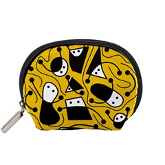 Playful abstract art - Yellow Accessory Pouches (Small)