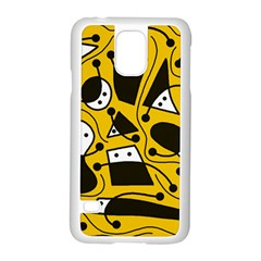 Playful abstract art - Yellow Samsung Galaxy S5 Case (White)