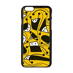 Playful abstract art - Yellow Apple iPhone 6/6S Black Enamel Case