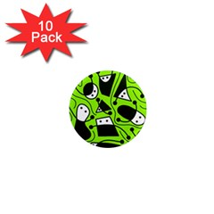 Playful abstract art - green 1  Mini Magnet (10 pack)