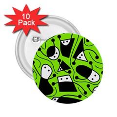 Playful abstract art - green 2.25  Buttons (10 pack)