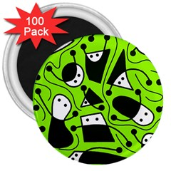 Playful abstract art - green 3  Magnets (100 pack)