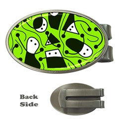 Playful abstract art - green Money Clips (Oval)