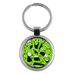 Playful abstract art - green Key Chains (Round)