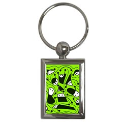 Playful abstract art - green Key Chains (Rectangle)