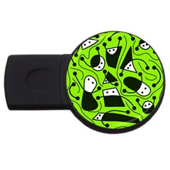 Playful abstract art - green USB Flash Drive Round (1 GB)