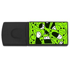 Playful abstract art - green USB Flash Drive Rectangular (1 GB)